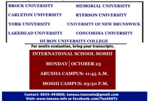 International School Moshi; Canadian universities information sessions-2017