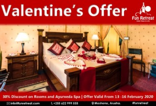 Valentine's Offer, 30% Discount on Rooms and Ayurveda Spa at Fun Retreat Resort