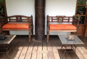 Set Of Original Red Colonial Living Room Furniture
