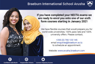 Braeburn Arusha now registering students who have completed NECTA exams