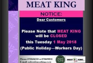MEAT KING CLOSED TUESDAY 1 MAY'18