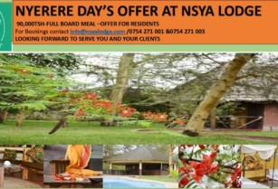 NYERERE DAY'S SPECIAL OFFER FOR RESIDENCE AT NSYA LODGE & CAMP-MANYARA