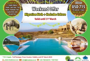 WEEKEND OFFER | 4 DAYS MIGRATION BIRTH & HADZABE CULTUE (BLUE LOTUS TRAVEL & TOURS)