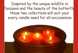 NEW CANDLE COLLECTIONS FROM BUTTERFLY AND TANZANIA WILDLIFE.