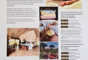 NEW CAMP IN TARANGIRE OFFERS INCREDIBLE INTRODUCTORY RESIDENT RATES!