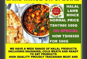 HALAL LAMB MINCE ON SPECIAL AT MEAT KING FACTORY – ONLY TSH6500 – 500G – LIMITED TIME ONLY