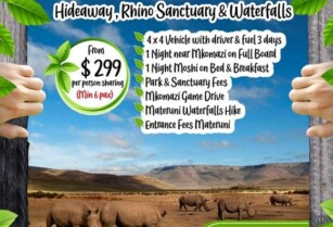 HIDEAWAY, RHINO SANCTUARY & WATERFALLS (HIDEAWAYS IN TANZANIA) – BLUE LOTUS TRAVEL & TOURS